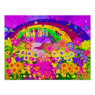 Arco iris de flores póster
