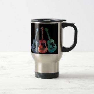 Arco iris de guitarras taza de viaje