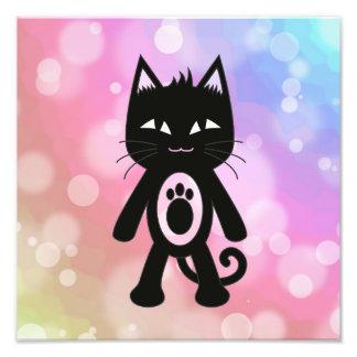 Arco iris de Kawaii y gato negro Impresion Fotografica