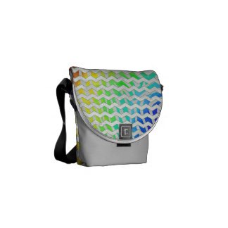 Arco iris de la cebra e impresión blanca bolsa messenger