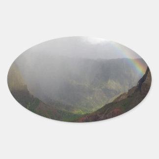 Arco iris de la costa de Napali de la montaña Colcomanias De Óval Personalizadas