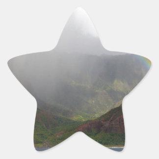 Arco iris de la costa de Napali de la montaña Calcomanías Forma De Estrellaes Personalizadas