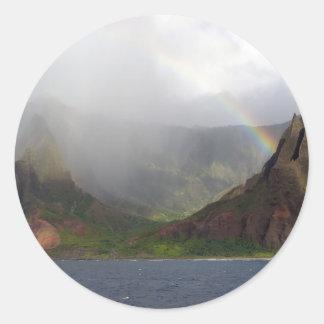 Arco iris de la costa de Napali de la montaña Etiquetas