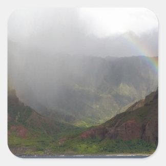 Arco iris de la costa de Napali de la montaña Pegatinas