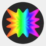Arco iris de la estrella pegatinas redondas