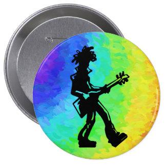 Arco iris de la guitarra de las noches de la pin redondo de 4 pulgadas
