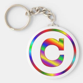 Arco iris de la letra C Llaveros