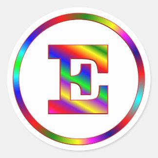 Arco iris de la letra E Etiqueta