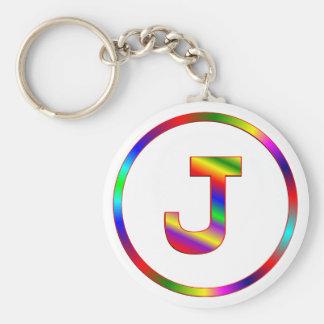 Arco iris de la letra J Llaveros