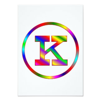 """Arco iris de la letra K Invitación 5"""" X 7"""""""