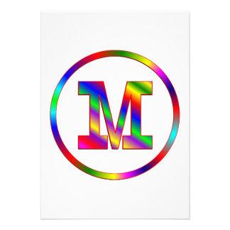 Arco iris de la letra M Comunicados Personalizados