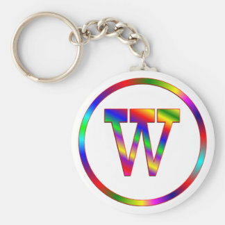 Arco iris de la letra W Llavero Redondo Tipo Pin