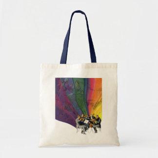Arco iris de la música del vintage, hombre y bolsa tela barata