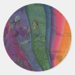Arco iris de la música del vintage, hombre y pegatina redonda