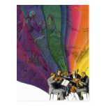 Arco iris de la música del vintage, hombre y postal