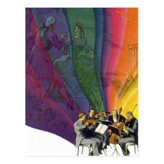 Arco iris de la música del vintage, hombre y tarjeta postal