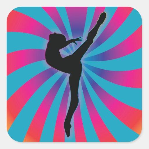 Arco iris de la parte radial del bailarín colcomanias cuadradass