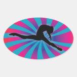 Arco iris de la parte radial del bailarín colcomanias óval