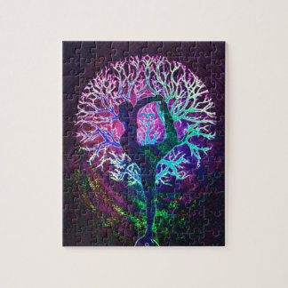 Arco iris de la paz del árbol de la yoga puzzle