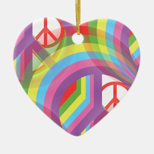 Arco iris de la paz - frente y parte posterior adorno de cerámica en forma de corazón