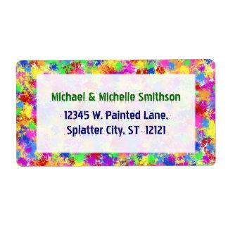Arco iris de la pintura de la salpicadura del etiqueta de envío