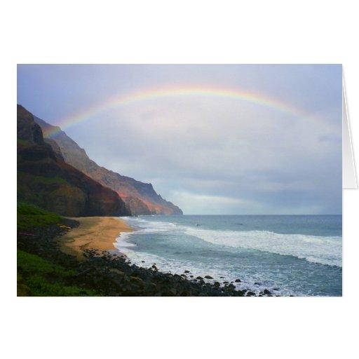 Arco iris de la playa de Kalalau Tarjeta De Felicitación