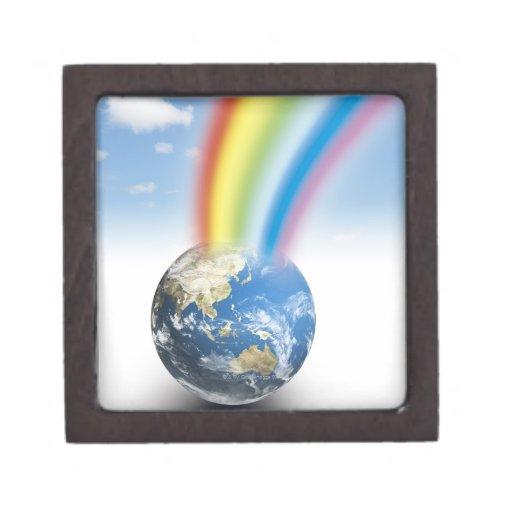Arco iris de la tierra cajas de recuerdo de calidad
