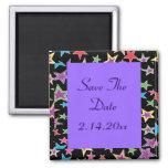 Arco iris de las estrellas coloreado, púrpura imán de nevera