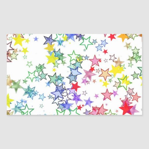 Arco iris de las estrellas de los colores pegatina rectangular
