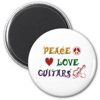 Arco iris de las guitarras eléctricas del amor de imán redondo 5 cm