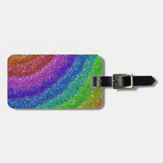 Arco iris de los brillos etiquetas de maletas