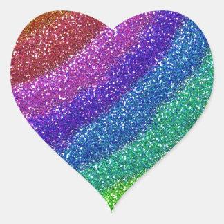 Arco iris de los brillos pegatina en forma de corazón
