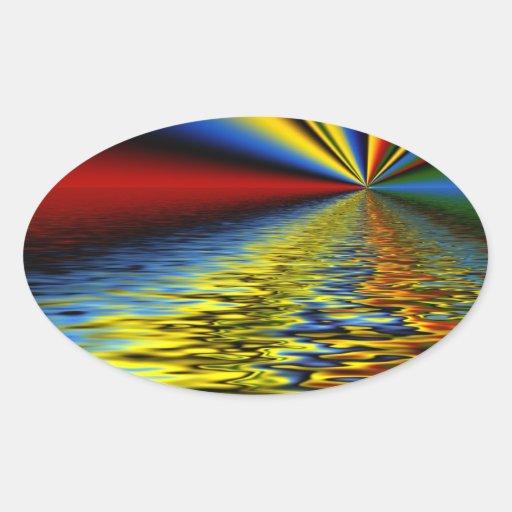 Arco iris de los colores reflejados sobre el agua colcomanias de oval personalizadas