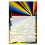 Arco iris de los colores reflejados sobre el agua  tablero blanco