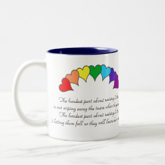 arco iris de los corazones, el par más duro… taza de dos tonos