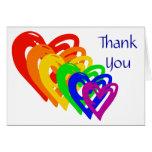Arco iris de los corazones tarjeta pequeña