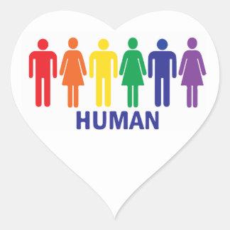 ARCO IRIS DE LOS DERECHOS DE LOS HOMOSEXUALES DE PEGATINA EN FORMA DE CORAZÓN