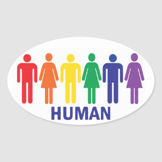 ARCO IRIS DE LOS DERECHOS DE LOS HOMOSEXUALES DE PEGATINA OVALADA