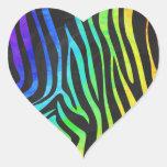 Arco iris de moda y estampado de animales negro de pegatina en forma de corazón