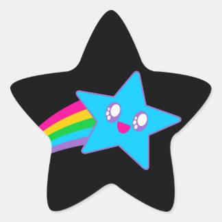 Arco iris de neón de la estrella del delirio de pegatina en forma de estrella