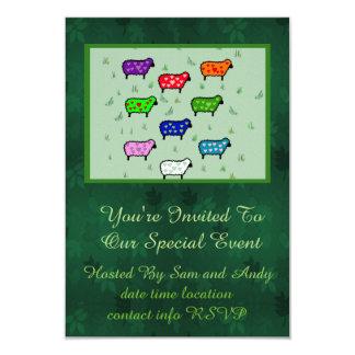 Arco iris de ovejas invitación 8,9 x 12,7 cm