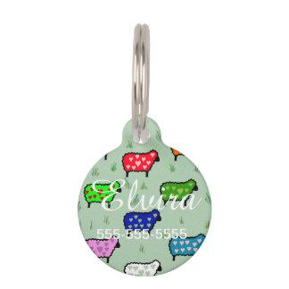 Arco iris de ovejas placa de mascota