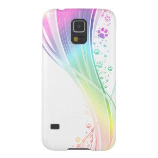 Arco iris de Pawprint Funda De Galaxy S5