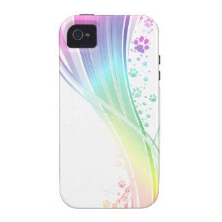 Arco iris de Pawprint Vibe iPhone 4 Carcasa