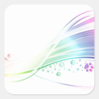 Arco iris de Pawprint Pegatina Cuadrada