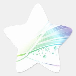 Arco iris de Pawprint Pegatina En Forma De Estrella