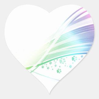 Arco iris de Pawprint Pegatina En Forma De Corazón