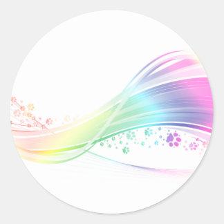 Arco iris de Pawprint Pegatina Redonda