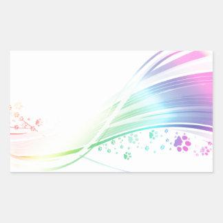 Arco iris de Pawprint Pegatina Rectangular