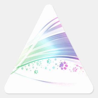 Arco iris de Pawprint Pegatina Triangular